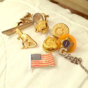 All shown. From estate. Tie pins clips fraternal